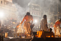 Cerimonia di Gange Aarti, Varanasi Fotografie Stock Libere da Diritti