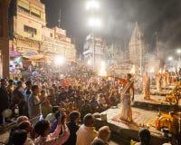 Cerimonia di Gange Aarti, Varanasi Fotografie Stock