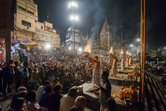 Cerimonia di Gange Aarti, Varanasi Immagini Stock
