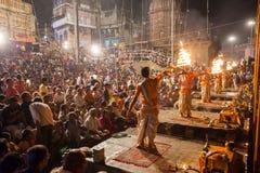 Cerimonia di Gange Aarti, Varanasi Fotografia Stock Libera da Diritti