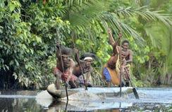 Cerimonia di guerra della canoa della gente di Asmat Immagine Stock Libera da Diritti