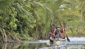 Cerimonia di guerra della canoa di Asmat Immagini Stock Libere da Diritti