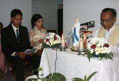 Cerimonia di nozze cristiana Fotografie Stock