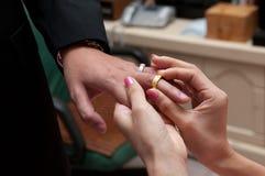Cerimonia di nozze dell'anello di scambio Immagini Stock