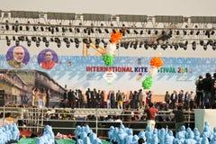 Cerimonia di Opning al ventinovesimo festival internazionale 2018 dell'aquilone - l'India Fotografia Stock Libera da Diritti