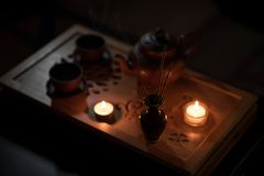 Cerimonia di tè con le candele Fotografia Stock