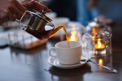 Cerimonia di tè nel caffè Immagine Stock