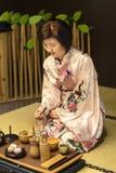 Cerimonia di tè tradizionale giapponese Fotografie Stock Libere da Diritti
