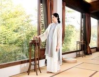 Cerimonia di tè di Bamboo finestra-Cina dello specialista di arte del tè Immagini Stock