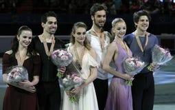 Cerimonia di vittoria di ballo del ghiaccio Immagini Stock