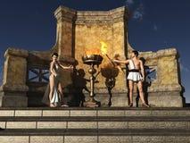 Cerimonia Grecian antica di illuminazione della fiamma Immagini Stock Libere da Diritti
