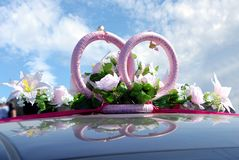 cerimonia nuziale della decorazione dell'automobile Fotografie Stock