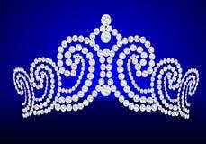 Cerimonia nuziale femminile del Diadem sulla priorità bassa dell'azzurro di girata Fotografie Stock Libere da Diritti