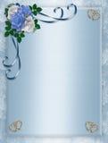 Cerimonia nuziale, rose dell'azzurro dell'invito del partito Fotografia Stock