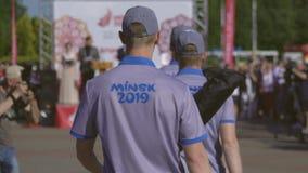 Cerimonia ufficiale della fiamma di pace prima dei secondi giochi europei 2019 a MINSK BOBRUISK, BIELORUSSIA 06 03 19 stock footage