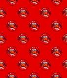Cerise de lèvres Lèvres rouges sexy femelles avec la cerise sur un fond rouge Dessin d'animation Travail manuel Marqueurs Photographie stock libre de droits
