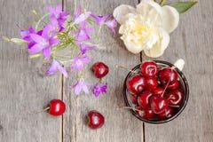 Cerise et fleurs images stock