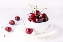 Cerise fraîche et belle dans une tasse blanche Cherry Close Up White Background juteux mûr photos libres de droits