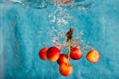 Cerises éclaboussant dans l'eau Photo libre de droits