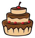 Cerises de gâteau de chocolat Image stock