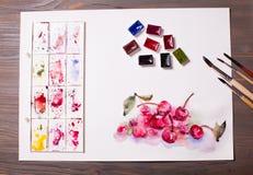 Cerises de peinture d'aquarelle Image stock