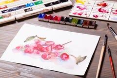 Cerises de peinture d'aquarelle Photo stock