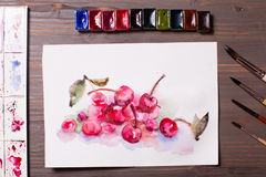 Cerises de peinture d'aquarelle Images stock