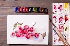 Cerises de peinture d'aquarelle Photos stock