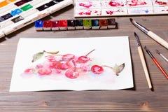 Cerises de peinture d'aquarelle Photographie stock