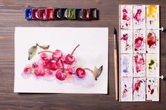 Cerises de peinture d'aquarelle Photo libre de droits