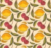 Cerises et art peint à la main sans couture de citron illustration stock
