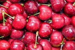 Cerises rouges mûres avec le fond de bâtons Images stock