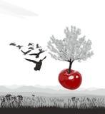 Cerisier fleurissant volant des cerises Image libre de droits