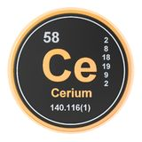 Cerium Ce chemical element. 3D rendering. Isolated on white background royalty free illustration