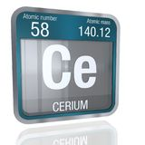 Cerium symbol in square shape with metallic border and transparent background with reflection on the floor. 3D render. Element number 58 of the Periodic Table royalty free illustration