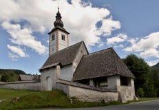 Cerkev Sv. Janeza Krstnika church in Ribčev Laz on Bohinj lake in Triglav national park in Slovenia. Cerkev Sv. Janeza Krstnika church in Ribčev Laz on Bohinj Stock Photo