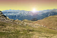 Cerler hight mountains at sunset Royalty Free Stock Image