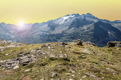 Cerler hight mountains at sunset Stock Images