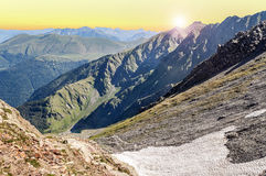 Cerler mountains at sunset Stock Photography