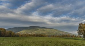 Cerna hill and autumn evening in Krkonose mountains Stock Photography