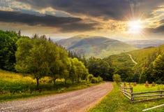 Cerque cerca del camino abajo de la colina con el bosque en montañas en el sunse Fotos de archivo
