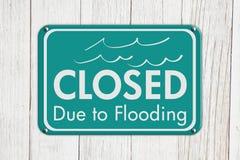Cerrado debido a inundar la muestra imagen de archivo libre de regalías