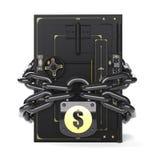 Cerrado seguro en la cerradura y la cadena Fotos de archivo libres de regalías