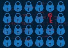 Cerradura abstracta de la seguridad de la red global del fondo de la tecnología Aislamiento del sistema en azul con la cerradura  libre illustration