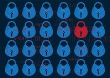 Cerradura abstracta de la seguridad de la red global del fondo de la tecnología Aislamiento del sistema en azul con la cerradura  stock de ilustración