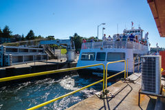 Cerradura de Ballard Lock Cruise Ship In Imagen de archivo