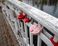 Cerradura de la puerta rosada romántica de la memoria en un puente Foto de archivo libre de regalías