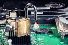 Cerradura de la reparación del análisis del chip de ordenador del ordenador portátil de la PC Imagen de archivo libre de regalías