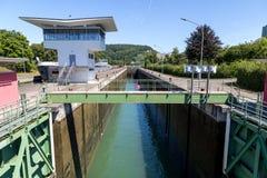 Cerradura del agua en Basilea, Suiza Fotografía de archivo