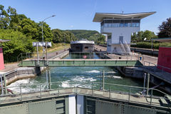 Cerradura del agua en Basilea, Suiza Imagen de archivo